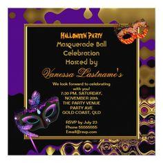 Shop Masquerade Halloween Party Masked Purple Orange 3 Invitation created by Zizzago. Purple Invitations, Quinceanera Invitations, Invitation Paper, Invitation Design, Bachelorette Party Invitations, Baby Shower Invitations, Birthday Invitations, Corporate Invitation, Party Venues