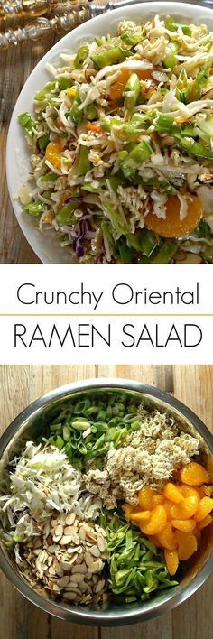 Crunchy Oriental Ramen Salad using coleslaw mix and ramen noodles! This retro Asian inspired salad is always a hit!