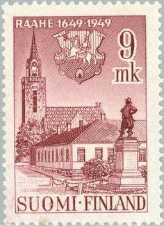 Raahe postage stamp, Northern Ostrobothnia province of Finland.