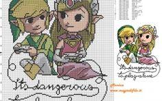 Link and Zelda patrón punto de cruz