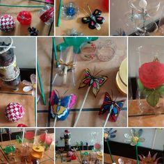 Varios artículos realizados con botellas pet