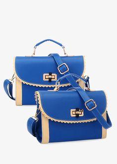 Retro Blue Handbag With Lace #1980s #30-50 #handbags