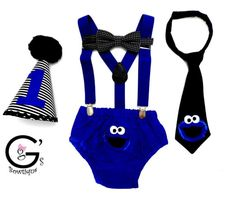 Cookie Monster Suspender 1st Birthday Smash Cake Party Outfit
