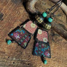 Boucles d'oreille bohème-look vintage-style rustique-motif asiatique-caractères chinois-les petites bohémiennes-grenat-bordeaux-ivoire-vert