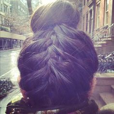 upside down french braids - so in love with this hairstyle. If only i could get the front to come out pretty too..