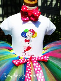 Items similar to Birthday Balloons Hello Kitty Birthday Tutu Outfit - Customize with any colors on Etsy