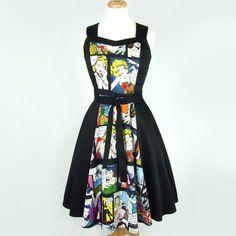 Comic Black Full Circle Swing Vintage Inspired Dress