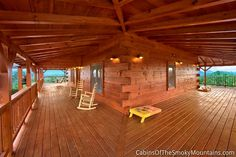 Some cabins have so much deck, you wonder if you should bring roller skates. There's sq. of deck on two levels wrapping around this luxury cabin, The Deckhouse. Smoky Mountain Cabin Rentals, Smoky Mountains Cabins, Sleeping Porch, Luxury Cabin, Outdoor Living, Outdoor Decor, Log Cabins, Skates, Luxurious Bedrooms