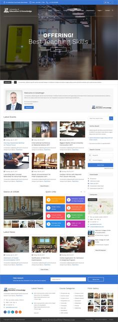 College Website, Best Website Templates, Teaching Skills, Web Themes, Website Design Inspiration, Design Ideas, Psd Templates, Bootstrap Template, Best Wordpress Themes