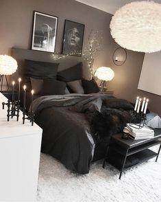 Room Ideas Bedroom, Home Decor Bedroom, Living Room Decor, Black Bedroom Decor, Lighting Ideas Bedroom, Master Bedroom, Black Bedroom Design, Teen Bedroom, Bedroom Inspo