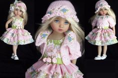 "SWEATER,SUNDRESS,HAT&SHOE SET MADE FOR EFFNER LITTLE DARLING 13""&SAME SIZE DOLLS"