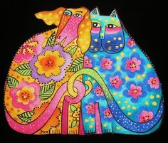 LAUREL BURCH CATS DOGS Canines Felines Kindred Spirits 4 Fabric Appliques