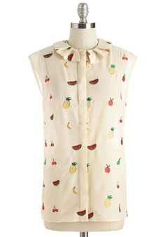 Fruity or Not, Here I Come Top - Mid-length, Sheer, Woven, Cream, Multi, Novelty Print, Print, Ruffles, Casual, Daytime Party, Fruits, Food, Sleeveless, Spring, Summer, Better, Collared