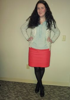 Polka dot cardigan, chambray popover, red skirt, black wedges, outfit