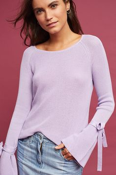 Slide View: 2: Fluted-Sleeve Pullover