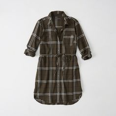 Abercrombie & Fitch Long-Sleeve Shirtdress ($68) ❤ liked on Polyvore featuring dresses, olive plaid, olive shirt dress, cotton dress, shirt dress, petite shirt dress and olive green shirt dress