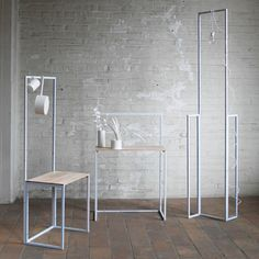 Fabricia Chang's Flexible Order project contains a series of forms assembled from welded stainless-steel square tubes that can be combined in different configurations.