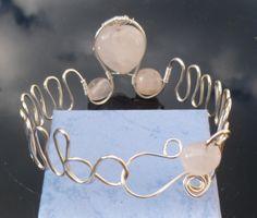 BG34 Handmade Rose Quartz (Taurus) Silver Plated Copper Wire Adjustable Bangle…