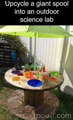 Upcycle a giant spool into an outdoor lab from TP Craft