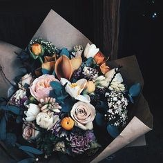 My favorite colors in a bouquet. Borrowed from a painting. Leaves that look blue, teal even. Petals that look like clementine peels, faded pinks, stray twigs. My Flower, Fresh Flowers, Beautiful Flowers, Fall Flowers, Flower Bouqet, Beautiful Bouquets, White Flowers, Beautiful Things, Bunch Of Flowers