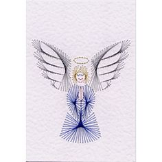Paper Embroidery More details on Stitching Cards Angel Christmas Sewing, Christmas Embroidery, Embroidery Cards, Embroidery Patterns, Stitching On Paper, Lacing Cards, Xmas Cross Stitch, String Art Patterns, Card Patterns