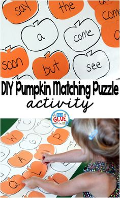 DIY Pumpkin Matching Puzzle is a fun hands-on gamefor children of allages. Toddlers and preschool kindergarten and first grade students will be having so much fun that they will not even know that they are learning. Fall Preschool, Preschool Kindergarten, Preschool Learning, Toddler Preschool, Learning Activities, Preschool Activities, Preschool Halloween, Haloween Craft, Halloween Activities For Toddlers