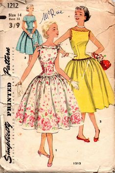 Simplicity 1212 RARE Womens Teen Full Skirt Bateau Neck Rockabilly Dress 50s Vintage Sewing Pattern Size 142 Bust 32 inches
