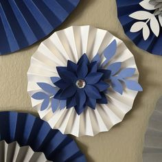 Items similar to Floral Paper Fans Rosettes Backdrop Party Decor- Navy Blue, White, Gray on Etsy Floral Paper Fans Rosettes Backdrop Party Decor Navy Blue Paper Fan Decorations, Paper Flowers Craft, Paper Flower Backdrop, Giant Paper Flowers, Flower Crafts, Diy Flowers, Flower Decorations, Diy Paper, Paper Crafts