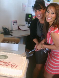 Holly and Marissa dive into a celebratory cake at SFO honoring our 5th-year-in-a-row win of the #TLWorldsBest awards.