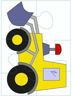 Fun and simple puzzle to make for kids. Preschool Learning Activities, Preschool Art, Preschool Activities, Kids Learning, Construction Theme Classroom, Puzzle Party, Puzzle Crafts, Transportation Activities, File Folder Activities