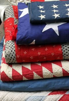 I'm gathering red, white and blue quilts because i have some scraps that i want to use!