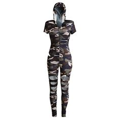 Womens Hole Knee Short Sleeve Hoodie Slim Camouflage Clubwear Romper Jumpsuit M - Brought to you by Avarsha.com