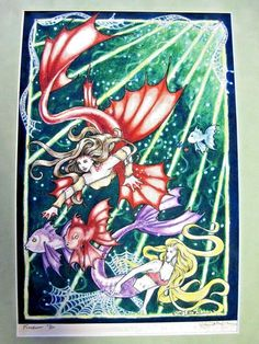 "Ellen Million artwork FREEDOM Mermaids 8"" x 11.5"" numbered print 11/20 #Fantasy"
