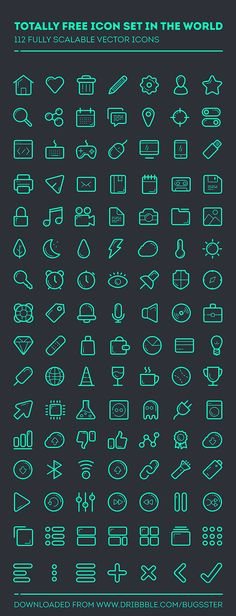 Here is a nice set including 112 fully scalable vector icons. Free PSD designed and released by Taras Shypka.