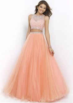 Blush 5400 neck two piece beaded coral pink long prom dress mezuniyet balos Prom Dresses Long Pink, Prom Dresses Two Piece, Prom Dresses For Teens, Two Piece Dress, Homecoming Dresses, Dress Prom, Prom Long, Short Prom, Formal Dresses