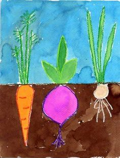 Vegetable Garden Watercolor Painting - use with book: Tops and Bottoms