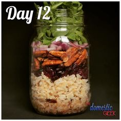 Day 12 - Wild Rice Salad 2 tbsp raspberry vinaigrette (Bit.ly/12Dressings) ½ cup long grain & wild rice, cooked ¼ cup dried cranberries ¼ cup toasted pecans ¼ small red onion, finely sliced 1 cup arugula