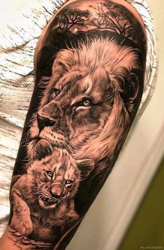 50 eye-catching lion tattoos that make you want to ink - fantastic lion . - 50 eye-catching lion tattoos that make you want to ink – fantastic lion family tattoo © tattoo a - Lions Tattoo, Lion Cub Tattoo, Cubs Tattoo, Lion Head Tattoos, Lion Tattoo Design, Wolf Tattoos, Animal Tattoos, Tattoo Designs, Girl Tattoos