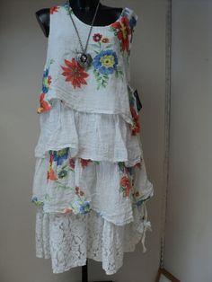 SARAH SANTOS SUMMER RUFFLE/LAYERED DRESS 100%LINEN + Lined (SIZE SANTOS LARGE) | eBay