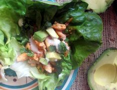 Buffalo chicken lettuce wraps-healthy Super Bowl snack! Wegmans yogurt blue cheese dressing is great.