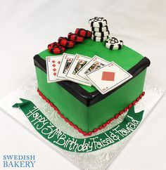 Cards & Poker Chips | Single tier, fondant sports cake with fondant poker chips and edible playing cards.