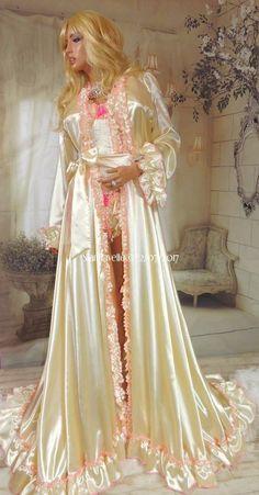 Long off white satin robe