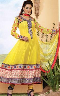 Lemon Yellow Churidar Kameez Set HSPFEA4105 - www.indianwardrobe.com
