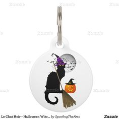 #LeChatNoir - #Halloween Witch Cat Pet Nametags by #SpoofingTheArts #zazzle #gravityx9