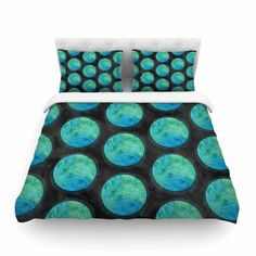 88 x 88, Kess InHouse Zara Martina Mansen Drop of Memphis Blue Featherweight Queen Duvet Cover