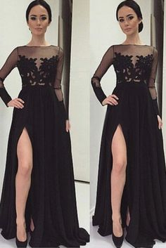2016 Black Long Sleeves Evening Dresses A Line Chiffon With Applique And Slit Gorgeous Prom Dresses, Classy Prom Dresses, Formal Dresses With Sleeves, Junior Prom Dresses, Prom Dresses Two Piece, Long Sleeve Evening Dresses, Simple Prom Dress, Unique Prom Dresses, Nice Dresses
