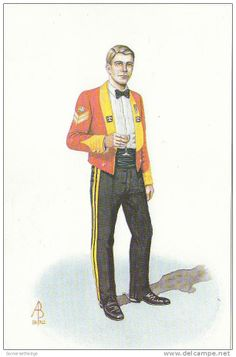 Corporal in Mess Dress The Royal Scots Dragoon Guards 1987 by Alix Baker British Army Uniform, British Soldier, Military Art, Military History, Drum Major, Military Pictures, Tartan, Postcards, Britain