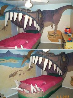 Awesome Dinosaur T-Rex bed idea! Dinosaur Bedding, Dinosaur Bedroom, Cool Beds For Kids, Cool Kids, Car Bed, Cool Inventions, Cool Rooms, Kid Beds, T Rex