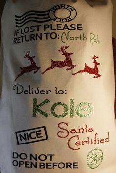 Personalized Santa Sack Customized Christmas bag by GlitterMomz