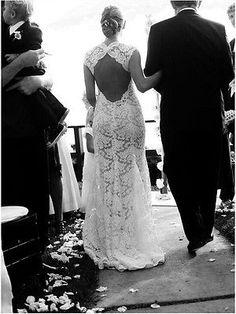 Vintage Ivory Lace Mermaid Bridal Gown Wedding Dress Custom Size 6 8 10 12 14 16